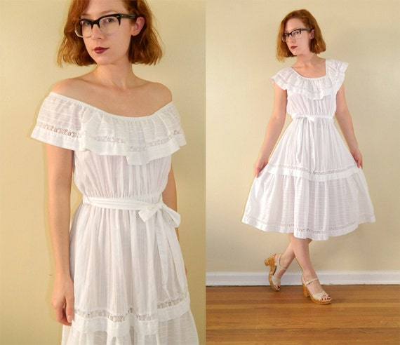 1970s Boho Sun Dress White Cotton Peasant Style Small