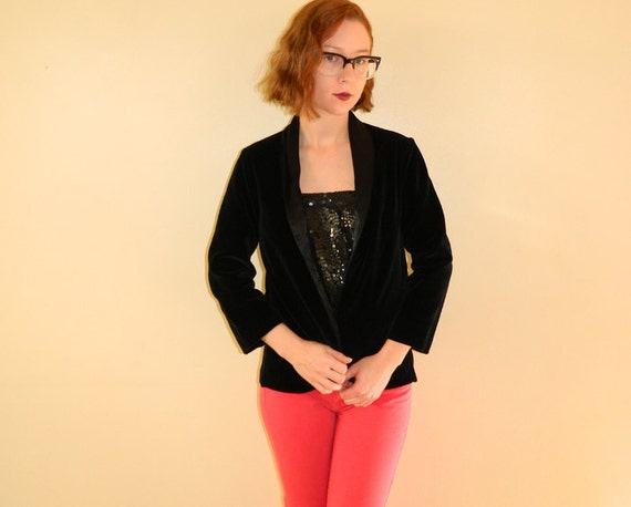Vintage Tux Jacket Black Velvet Satin Small