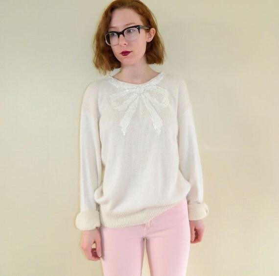 1980s Angora Silk Sweater Sequin Bow Cream XL
