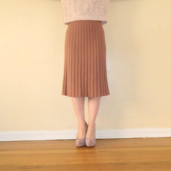 1940s Boucle Knit Pleated Skirt Midi M/L