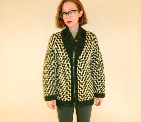 RESERVED 1950s Sweater Coat Green Knit Zig Zag S/M/L