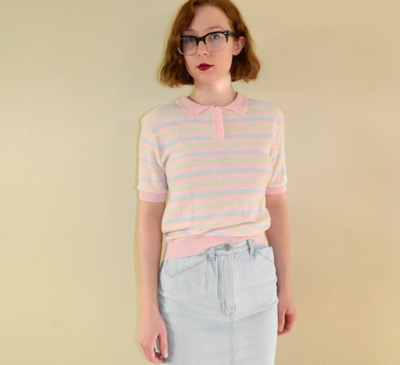 80s Polo Shirt Pastel Stripes Small - SALE