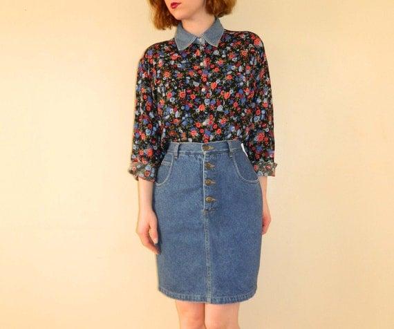 Denim Skirt Short Jean Skirt Blue Small SALE