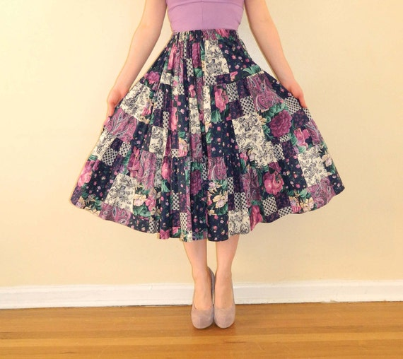 Vintage Full Skirt Patchwork Mixed Floral Print XS/Small -SALE