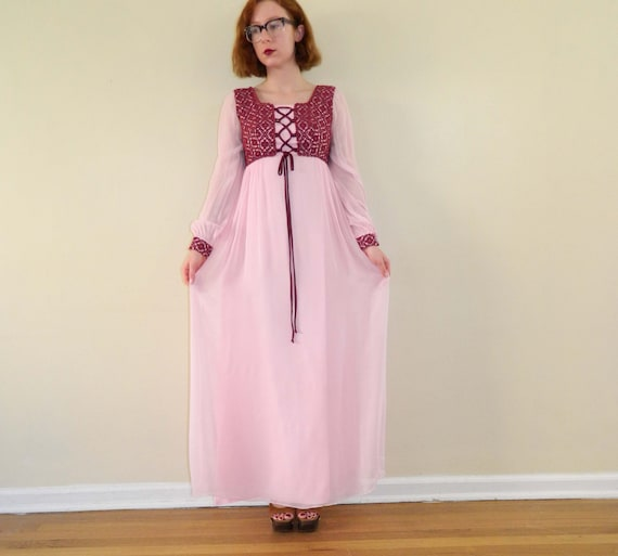 Damsel Empire Dress Pink Vintage Maxi Dress XS/S - SALE