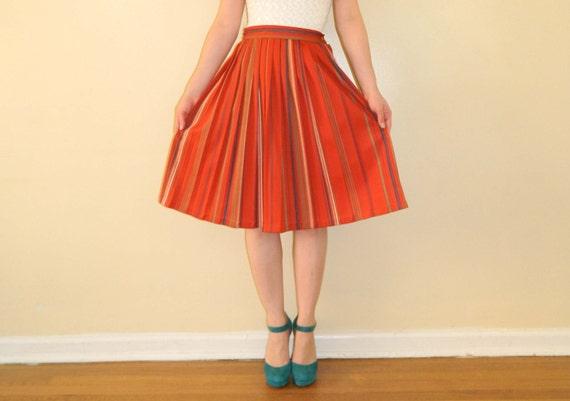 Pleated Skirt Burnt Orange Striped Small Vintage 1970s