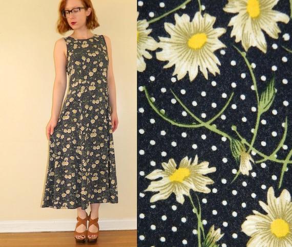 90s Floral Dress Grunge Daisy Polka Dot Navy Medium