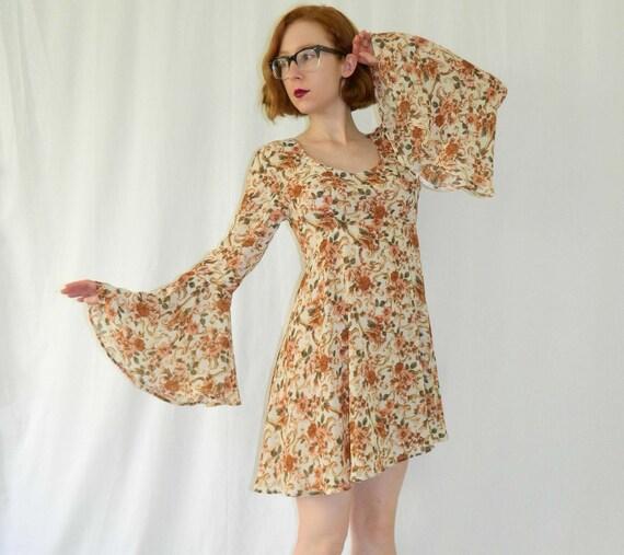 90s Sheer Floral Dress Boho Empire Medium