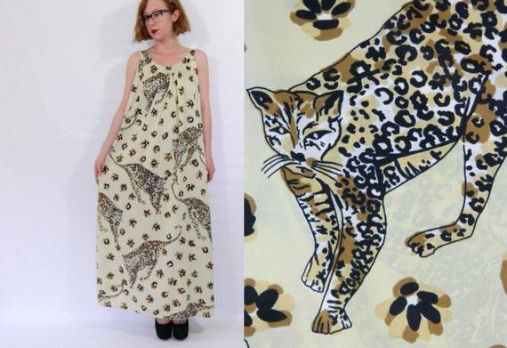 Leopard Slip Dress Cat Paw Print Maxi Dress Large