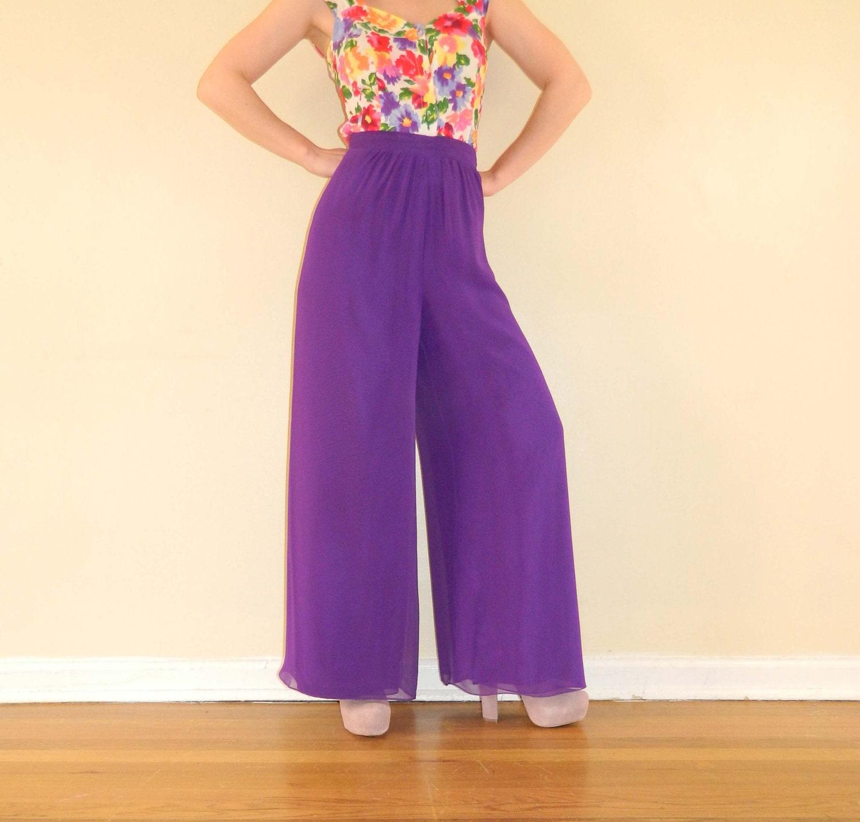 1970s Pants Wide Leg High Waist Purple Sheer Chiffon Small