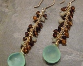 Chalcedony and Swarovski Crystal Linear Cluster Earrings