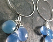 Light Blue Chalcedony Briolette Trio Hoop Earrings