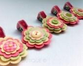 Rose Petal Felt Flower, pinch clip, hair clip, felt flower