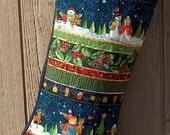 Custom Christmas Stocking   Large Christmas Stocking  Stocking with Name Quilted and Embellished