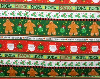Christmas Fabric, Red Green, Gingerbread Men