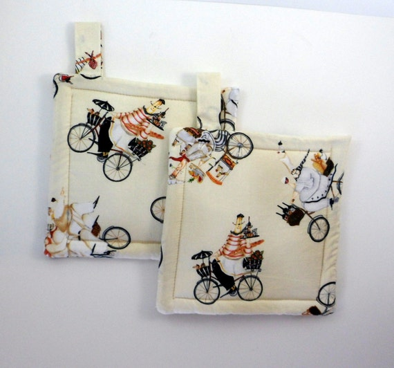 Pot Holders, quilted, chef fabric