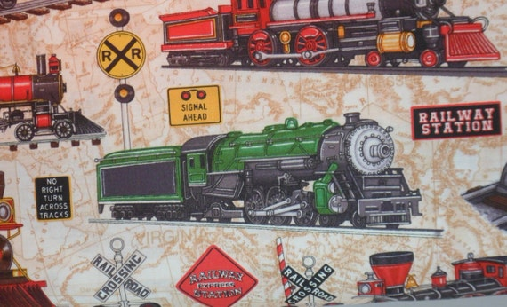 Trains cotton fabric just train crazy rjr fabrics by quiltwear for Train print fabric