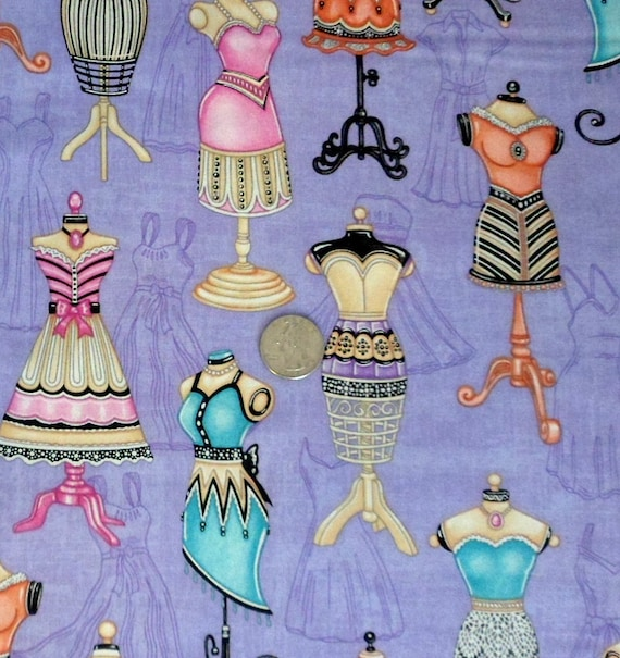 Lavender Cotton Fabric Dressmakers Form Fabric , Lil Miss Sew and Sew Cotton Fabric , RJR