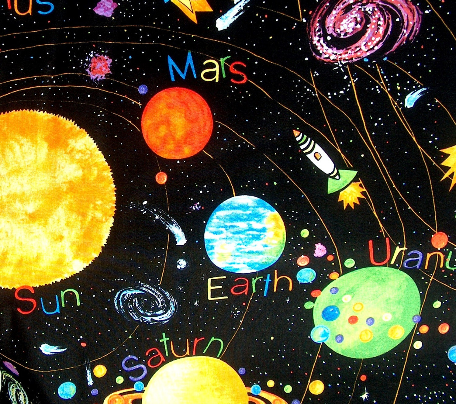 Solar system fabric with bright planets on a black backgound for Fabric planets solar system
