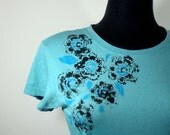 Hand Painted Abstract Flowers Alternative Apparel Cap Sleeve Womens T-Shirt in L