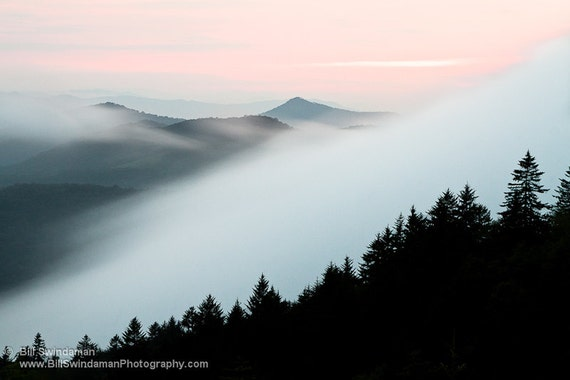 Nature Landscape Photograph - Foggy Blue Ridge Mountain Sunset