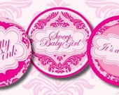 DIY Printable Pretty in Pink Baby Shower Cupcake Toppers Gift or Favor Tags