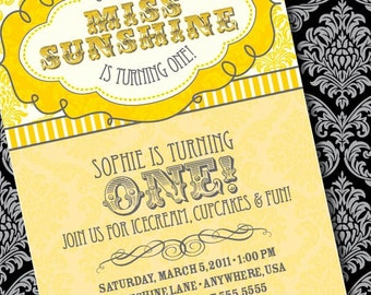 DIY Printable Little Miss Sunshine Birthday Invitation