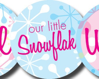 DIY Printable Little Snowflake Birthday Party Circles Cupcake Toppers