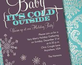 DIY Printable Baby It's Cold Outside Holiday Party Invitation
