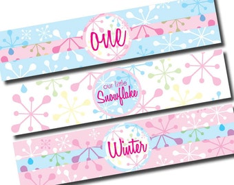 DIY Printable Little Snowflake Birthday Party Water Bottle Labels