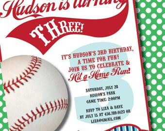DIY Printable Vintage Baseball Birthday Party Invitation