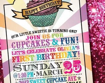 DIY Printable Rainbow Cupcake Birthday Invitation