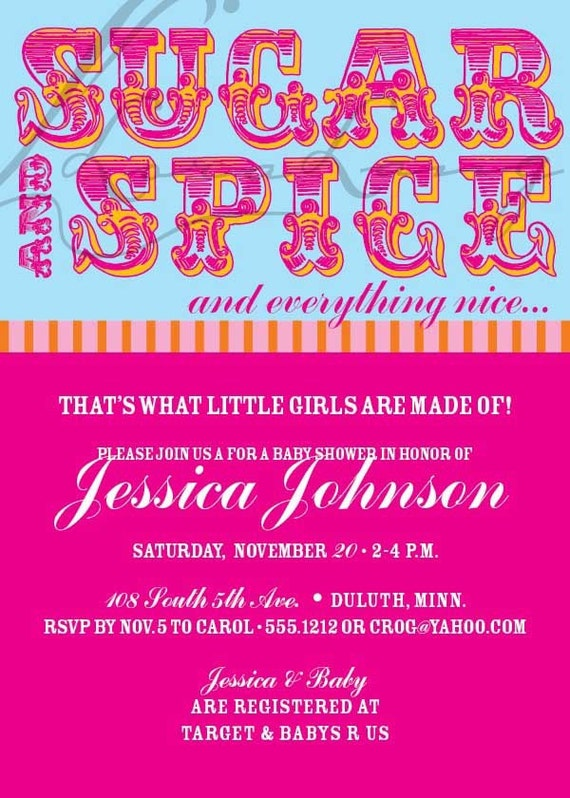new item sugar and spice digital baby girl baby shower invitation or