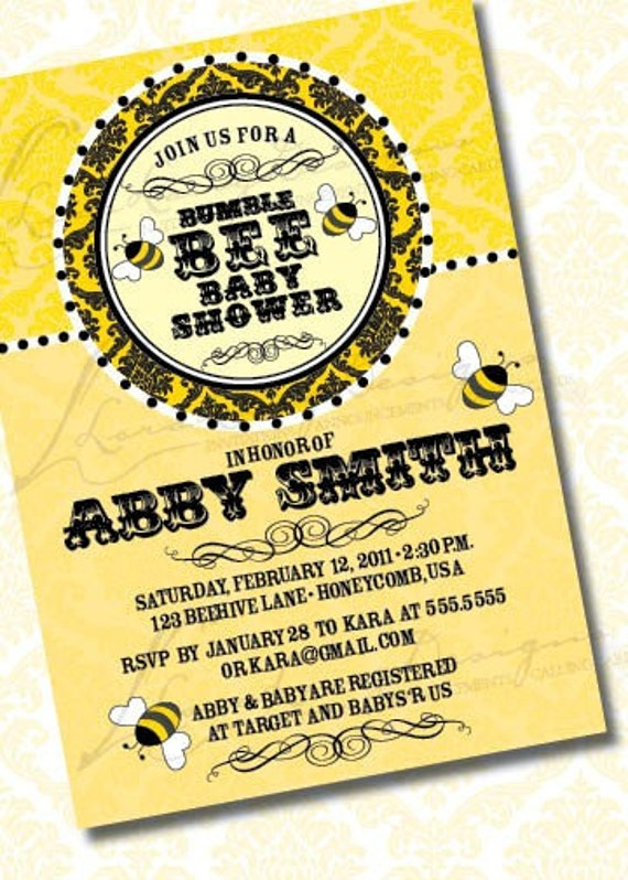DIY Printable Gender Neutral Bumble Bee Baby Shower Invitation