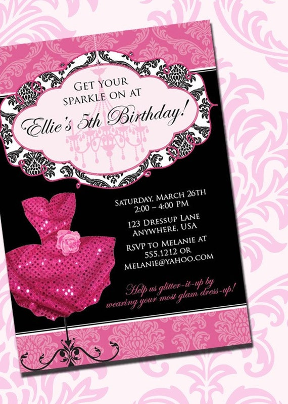 DIY Printable Pink Sparkle Dress Up Birthday Party Invitation by ...
