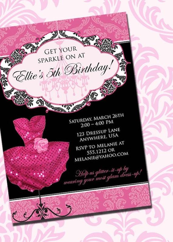 DIY Printable Pink Sparkle Dress Up Birthday Party Invitation by – Dress Up Party Invitations