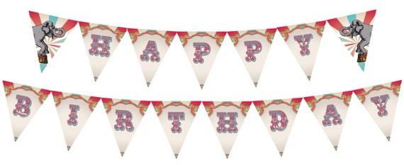DIY Printable Vintage Carnival Circus Birthday Banner INSTANT DOWNLOAD