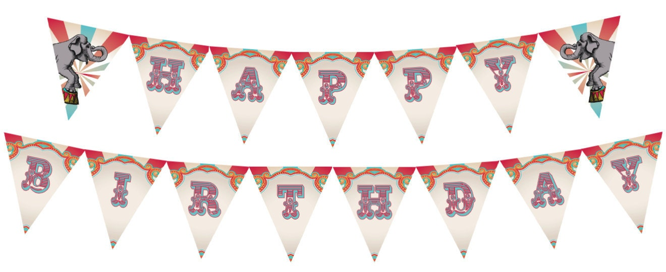 Printable Vintage Birthday Banner ~ Diy printable vintage carnival circus birthday banner instant