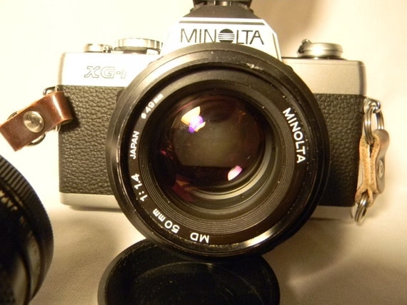 SALE-Minolta XG-1 35mm SLR Film Camera with Minolta 1:1.4 50mm lens and lots of extras