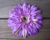 Purple daisy flower HAIR - clip on headband - EXTRA LARGE