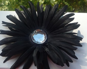 BLACK DAISY FLOWER 5 layers and a rhinestone center Hair Clip