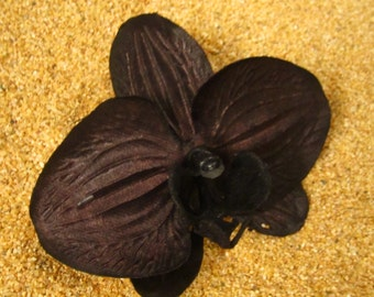 BLACK hawaiian orchid hair clip