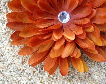 Brunt Orange mum flower hair clip OR bobby pin