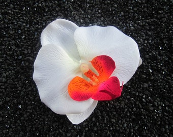 Very Beautiful White hawaiian orchid flower hair clip OR pin
