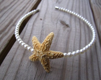 natural sugar starfish and danity cream pearls headband