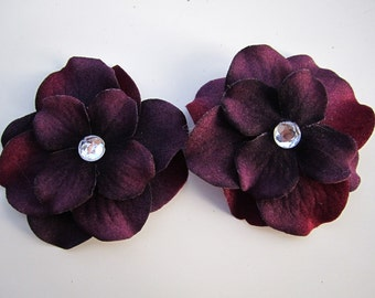set of 2 Dark Purple hydrangea flower bobby pins HAIR PIN
