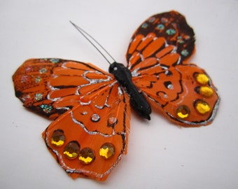 Orange BUTTERFLY HAIR CLIP with rhinestone