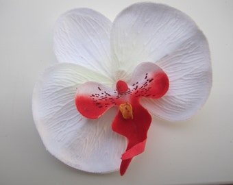 White and Red hawaiian orchid flower hair clip OR pin Very Bright