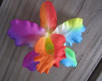 Rainbow Bright ORCHID flower bobby pins HAIR