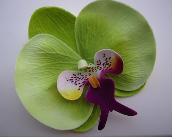 Green and Purple hawaiian orchid flower hair clip OR pin